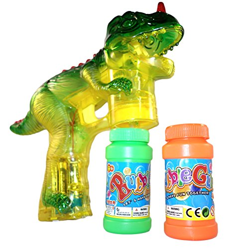Haktoys Jurassic Dinosaur Bubble Gun Shooter Light Up Blower | Toy Bubble Blaster for Toddlers, Kids, Parties | LED Flashing Lights, Extra Refill Bottle, Sound-Free (Complimentary Batteries Included) by Haktoys (Image #1)