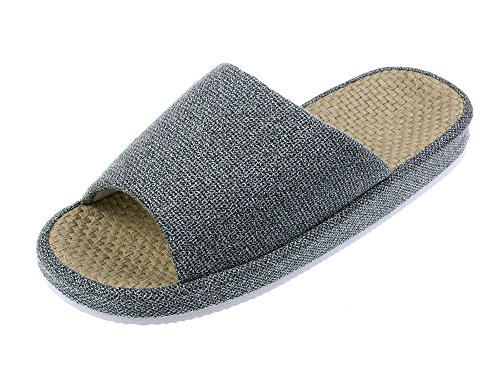 Bronze Times (TM Unisex Cozy Tatami Indoor Cotton Flax House Slippers (Grey)