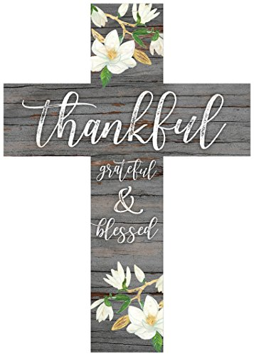 P. Graham Dunn Thankful Grateful & Blessed Magnolia Grey 8.5 x 12 Pine Wood Wall Hanging Cross