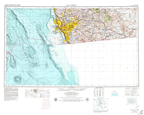 San Diego CA topo map, 1:250000 scale, 1 X 2 Degree, Historical, 1958, updated 1979, 26.2 x 32.7 IN - - Ca Madera Map Of Corte