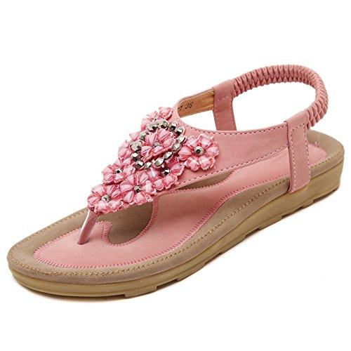 Beige Opcional Pink 5 Sandalias Material Tamaño EU38 Pink CN38 Flower UK5 Bohemia Summer Mujer Clip Rhinestones PU Flat Feifei Pink Color wqwB4C1