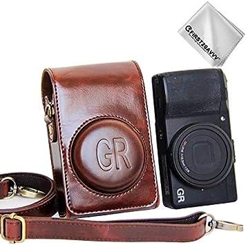 First2savvv marrone scuro Qualit/à premium Custodia Fondina in pelle sintetica per macchine fotografiche reflex compatibile con Ricoh GR II GR Panno di pulizia XJD-GRII-10G11