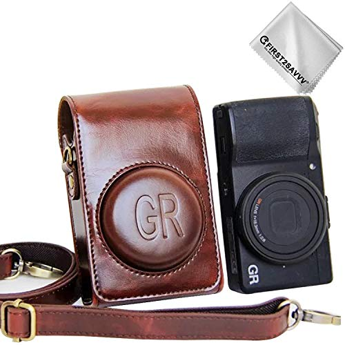 First2savvv PU Premium Quality Leather Camera case Pouch Bag with Shoulder Strap for Ricoh GR II GR XJD-GRII-10 by first2savvv