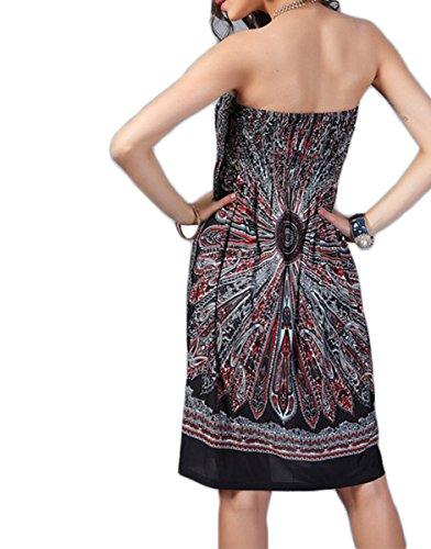 Atractivo de las mujeres de Boho impreso floral cuello barco de la tarde sin mangas vestido de la playa Vestir Envuelto Pecho del mini vestido corto Negro