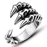 JAJAFOOK Jewelry Retro Stainless Steel Dragon Claw Rings for Mens and Womens