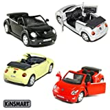 "Set of 4 Cars: 5"" 2003 VW Beetle Convertible 1/32"