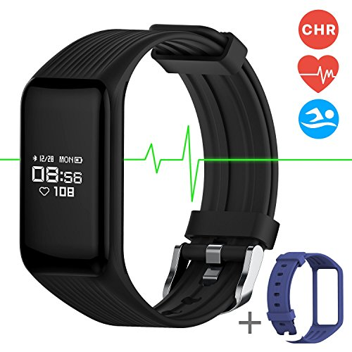 Water Resistant Stopwatches (Fitness Tracker Smart Band Continuous Heart Rate Monitor, MGCOOL B3 Activity Tracker Swim Waterproof Bracelet Sleep Monitor, Smart Watch Sport Stopwatch Christmas Gift 2 Straps Black Blue)