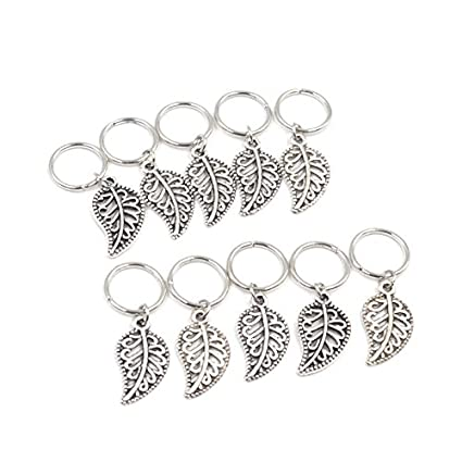 6710c14de112a Amazon.com: Baba 20 Pieces Silver Leaf Style Braiding DIY Accessory ...