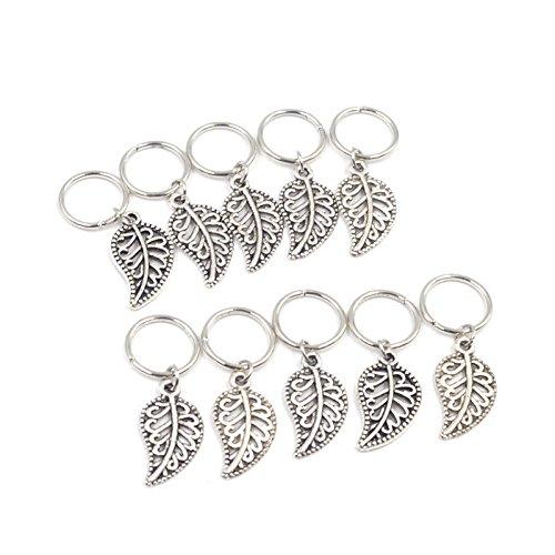 Hair Pin Silver Tibetan (Baba 20 Pieces Silver Leaf Style Braiding DIY Accessory Dread lock Hair Beads Hair Braid Pins Rings Cuff Clips Tibetan Jewelry Decor)