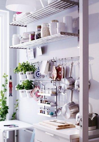 Ikea Grundtal 23 Rail + 5 Hooks Stainless Steel Untensil Hanger Pot Pan Holder Kitchen Storage Organizer Set