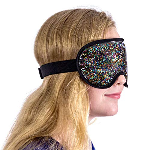 Therapeutic Under Eye Facial Mask (Gel Infused) Hot and Cold Skin Therapy | Relieve Sinus Pressure, Headaches, Migraines | Diminish Dark Circles, Puffy Bags | Reusable (Dark Rainbow Glitter)