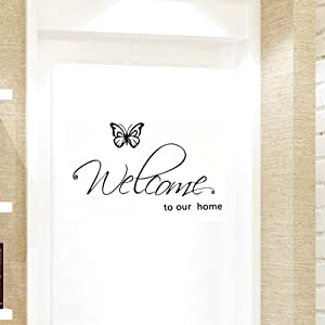 "BIBITIME Flying Black Butterfly Saying Welcome to Our Home Front Door Sign Decal Vinyl Letters Quotes Stickers for Living Room Porch Garden,DIY 27.95"" x 10.23"""