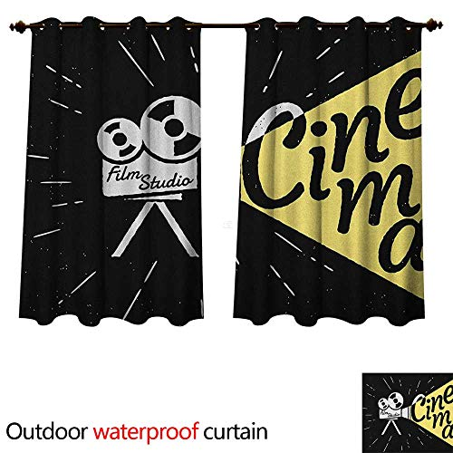 Anshesix Movie Theater Outdoor Ultraviolet Protective Curtains Movie Projector Sketch with Grunge Cinema Lettering on Black Backdrop W120 x L72(305cm x 183cm)