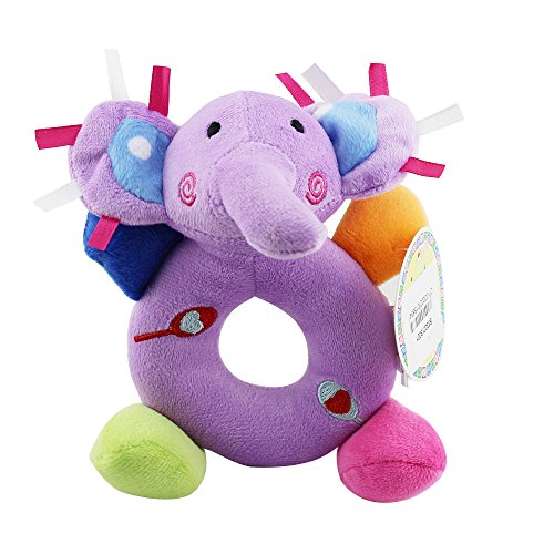 3PCS Super Soft Plush Rattle Ring Easy Grasp Stuffed Elephant Musical Toys For Infant ,Early Educational Toy BPA and Plastic Free Activity Toy