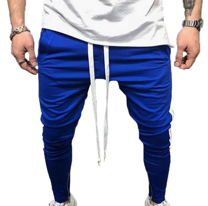 Pantalones elásticos de los Hombres Pantalones de Hip Hop Slim Fit Casuales  Pantalones Deportivos Joggers Pantalones de Gimnasia Fitness M-3XL   Amazon.es  ... 354f8815b78