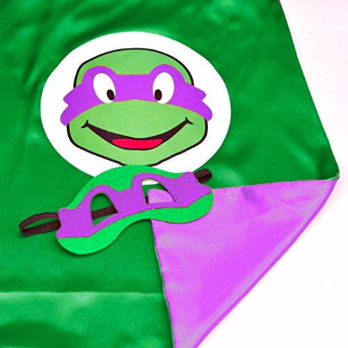 [Superhero or Princess CAPE & MASK SET Kids Childrens Halloween Costume (Turtle Purple (TMNT] (Ninja Turtle Costumes Boys)