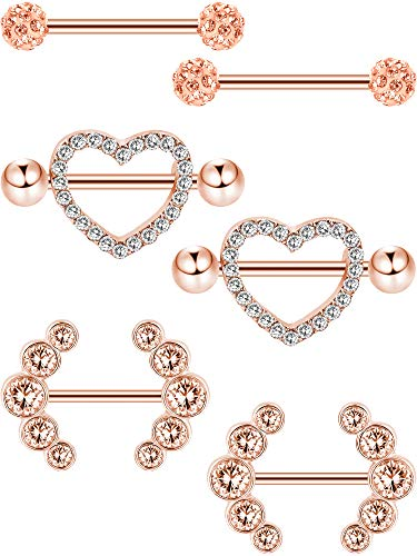 Tongue Piercing Heart - Jovitec 6 Pieces 14 G Nipple Rings Barbell Heart Curved Shape Rings Stainless Steel Tongue Nipple Rings for Jewelry Body Piercing (Rose Gold)