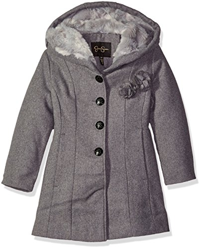 Jessica Simpson Little Girls' Toddler Fit and Flare Faux Wool Coat with Rosettes, Grey, 3T