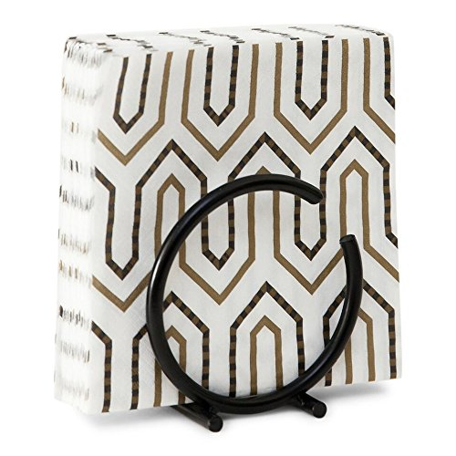 Unique Black Metal Vertical Napkin Holder - Fits Regular Size Square Napkins - Beautiful, Useful Accessory for the Home or Kitchen