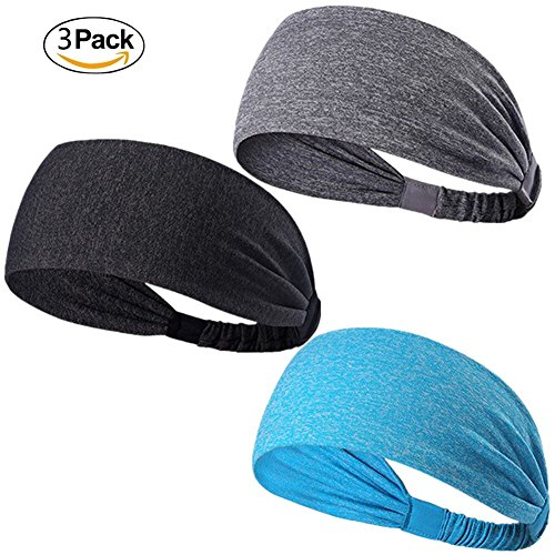 Keross Sports Headbands 3 Pack Stylish Sweatbands Soft and Elastic Stretch Hair Band for Sport, Yoga and (Cheap In Stock Dance Costumes)