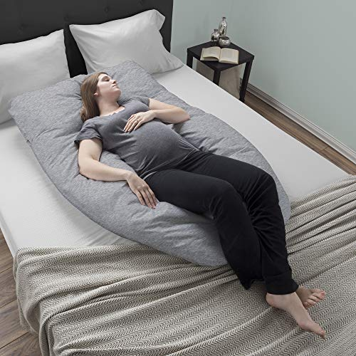 Lavish Home Pregnancy Pillow- Full Body Maternity Pillow with Removable Cover and Contoured U-Shape Design for Back/Body Support Collection (Gray) by Lavish Home (Image #4)