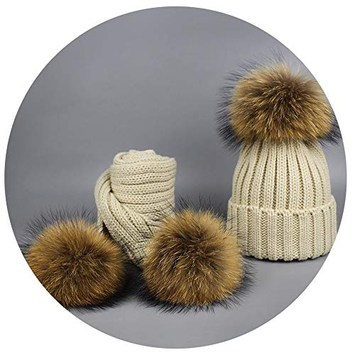 Beanie Warm Knitted Bobble Fur Pompom Hat and Scarf Set Children Real Raccoon Fur Pompon Winter Hat Skullies Beige ()