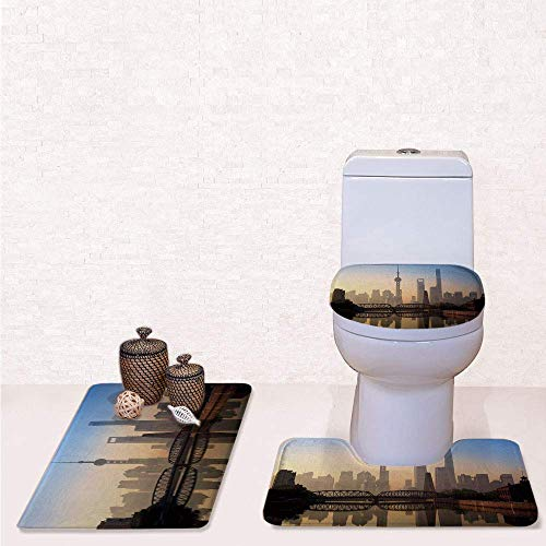 Seat Toilet China - Print 3 Pcss Bathroom Rug Set Contour Mat Toilet Seat Cover,Shanghai Skyline at Sunrise with Historical Waibaidu Bridge China Scenic Morning with Blue Brown,decorate bathroom,entrance door,kitchen,