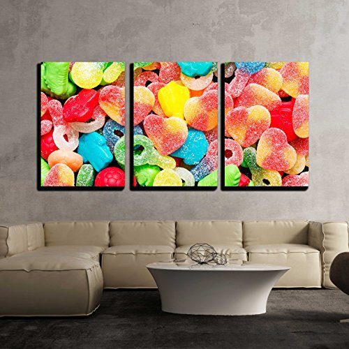 "Wall26 - 3 Piece Canvas Wall Art - Border of Colorful Jelly Candies - Modern Home Decor Stretched and Framed Ready to Hang - 16""x24\""x3 Panels"