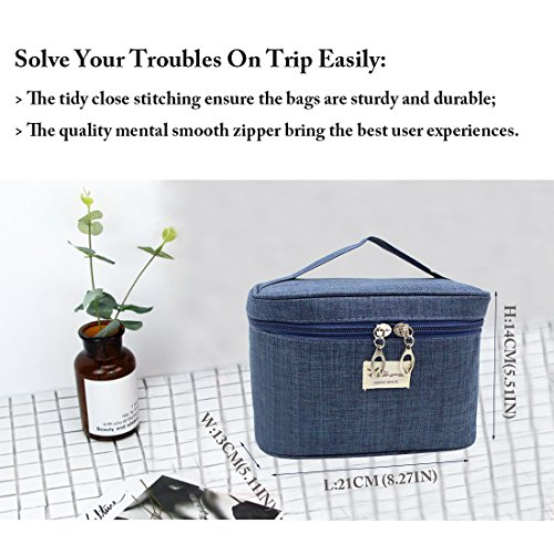 TePiLl Travel Toiletries Comestic Bag Case Portable Hanging Makeup Bathroom Brush Storage Pouch for Business, Camping, Vacation(Navy Blue) by TePiLl (Image #6)