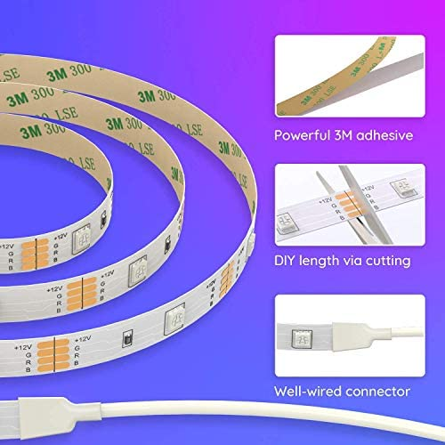 Govee RGB Led Strip Lights, 16.4 Feet, Color Changing Led Lights with Remote for Bedroom, Ceiling