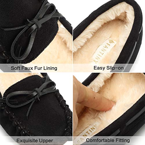 Fur Black01 Faux Outdoor On Women's amp; Moccasins Indoor Lined Suede Slipper Slip Fanture pwIx7qBHw