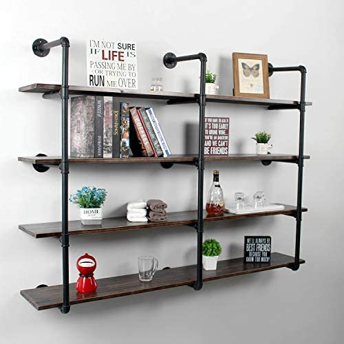 Reviewed: Weven 63″ Industrial Pipe Bookshelf Wall Mounted,4 Tier Rustic Floating Shelves,Farmhouse Kitchen Bar Shelving,Home Decor Book Shelves,DIY Bookcase,Hanging Wall Shelves,Black