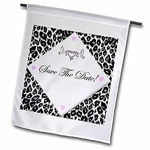 Edmond Hogge Jr Wedding - White Leopard Save The Date Invitation - 18 x 27 inch Garden Flag (fl_40622_2)