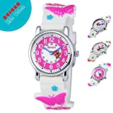 Zeiger Toddler Fashion Children Kids Watches Girls Age 5 - 10 Time Teacher, Cartoon Character 3D Butterfly Silicone Band -White