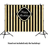 Allenjoy 8x6ft photography backdrops Adults children Birthday party banner Black and Gold Stripes Glitter glamour Sparkle photo studio booth background photocall