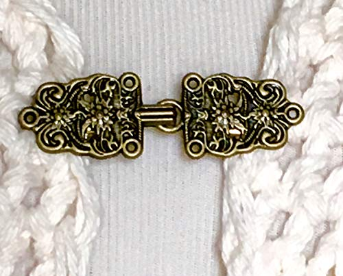 The mattie antiqued gold tone metal Bavarian flower sweater clip clasp