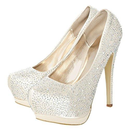 Shoe Platform Heeled CHAMP Diamante SATIN High Court Pointed Concealed Toe vOCnqp