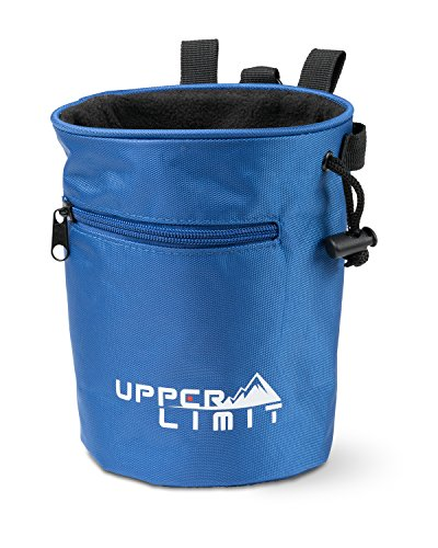 Upper Limit Chalk Bag for Rock Climbing, Weightlifting, Bouldering & Gymnastics Carabiner Clip 2 Large Zippered Pockets for the Iphone or Samsung Galaxy!