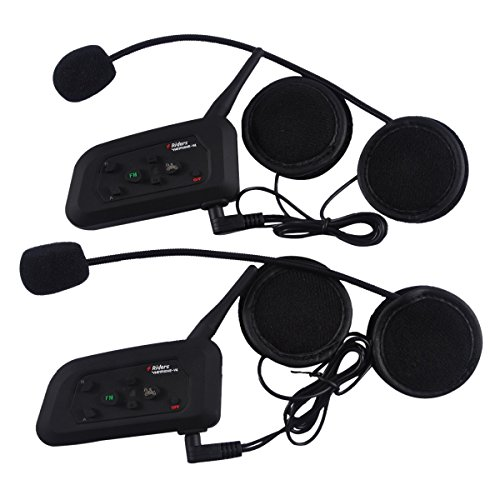 2 PCS Vnetphone-V4 BT 3.0 Bluetooth Intercom Motorcycle Helmet Waterproof Interphone Headset 4 Riders 1200M Wireless communication Walkie Talkie Support FM Function by ESoku