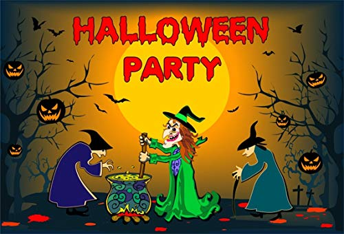 Leyiyi 10x6.5ft Kids Cartoon Halloween Backdrop Wizard Secret Party Witch Magic Poison Liquid Full Moon Pumpkin Lantern Photography Background Trick or Treat Photo Studio Prop Vinyl Blured Banner ()