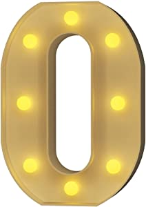 YOUZONE LED Marquee Letters LED Letter Lights Alphabet Light Up Sign Decoration Letters A - Z Symbol & for Wedding Birthday Party Battery Powered Christmas Lamp Night Light Home Bar Decoration (O)