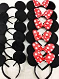 12 pc Mickey Mouse Ears Solid Black and Bow Minnie Headband for Boys and Girls Birthday Party (USA seller)