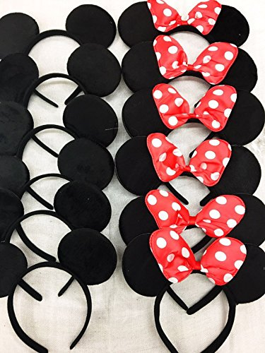 12 pc Mickey Mouse Ears Solid Black and Bow Minnie Headband for Boys and Girls Birthday Party (USA seller) - Mickey And Minnie Mouse Ears