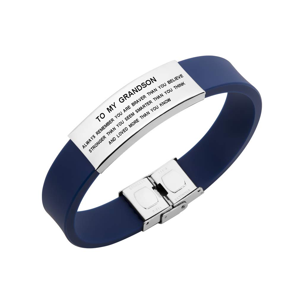 Freedom Love Gift to My Grandson Boys Bracelet Always Remember You are Braver Stronger Courage Quotes (Blue)