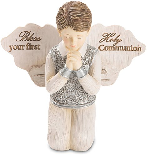 Pavilion - Bless Your First Holy Communion - Praying Boy Angel Figurine 3.5 Inches -