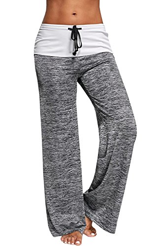 Price comparison product image WorkTd Womens Yoga Fold Over Wide Leg Fitness Yoga Pants Gray M
