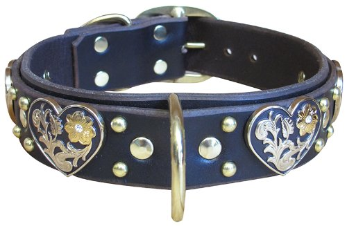 "Paco Collars - ""Chocolate Heart Deluxe"" - Handmade Leather Large Dog Collar - 1.5""Wide - Brass - Chocolate 20""-22"""