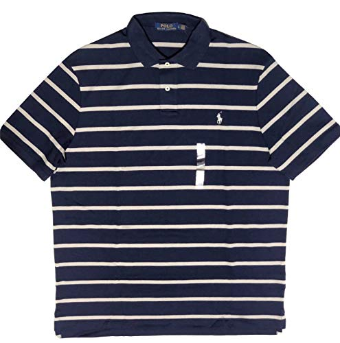 Polo Ralph Lauren Men's Soft Touch Classic Fit Short Sleeve Polo Shirt Striped Two-Button (Blue Mu/Grey, XX-Large)