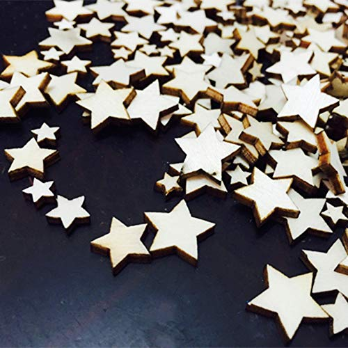 SeedWorld Figurines & Miniatures - 100Pcs Wood Star Chipboard Fashion Wooden Home Decorations DIY Christmas Party Scrapbooking Figurines Miniatures for Party 1 PCs (Home Chipboard)