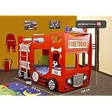 PM_FTD07 Bett Fire Truck Feuerwehr Autobett Kinderbett Feuerwehrwagen Spielbett inkl. 2x Lattenroste, 2x Matratzen und LED